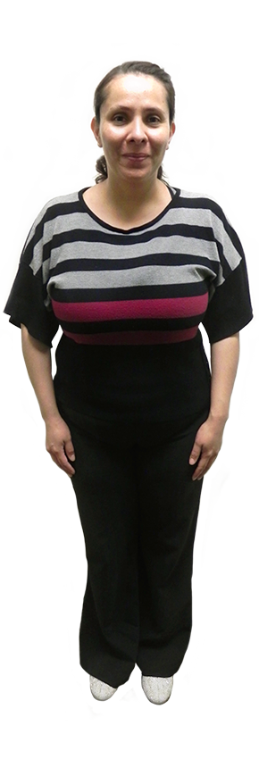 Woman in striped sweater