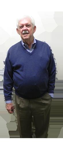 Elderly man in blue sweater