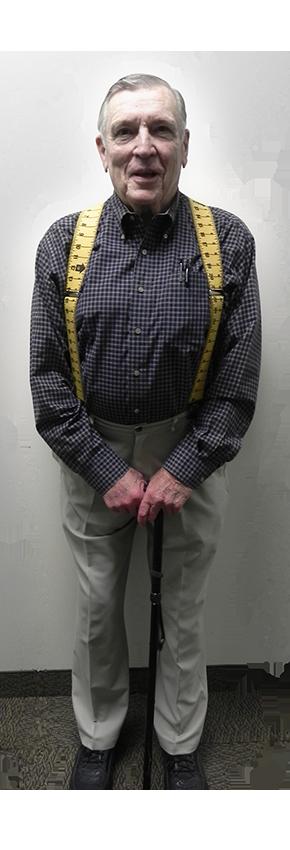 Elderly man with suspenders