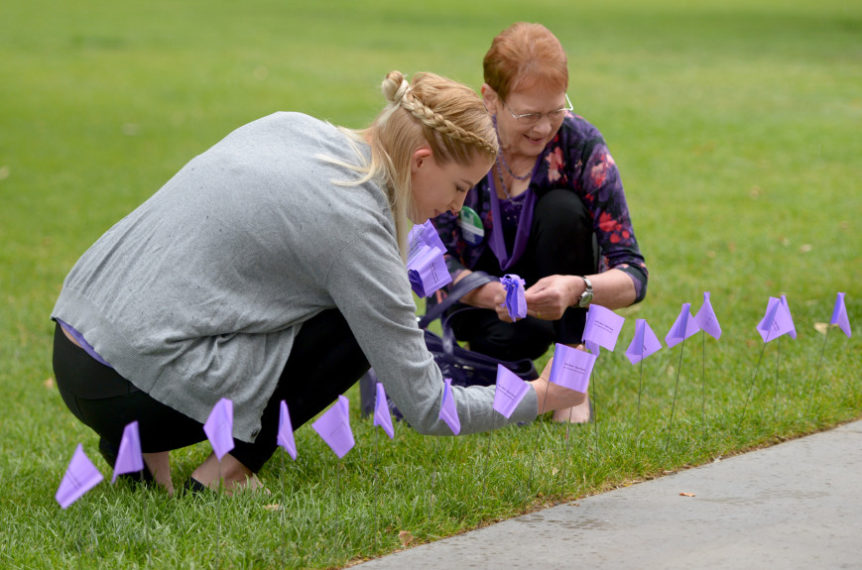 Two women kneeling, inserting small elder abuse awareness flags in grass